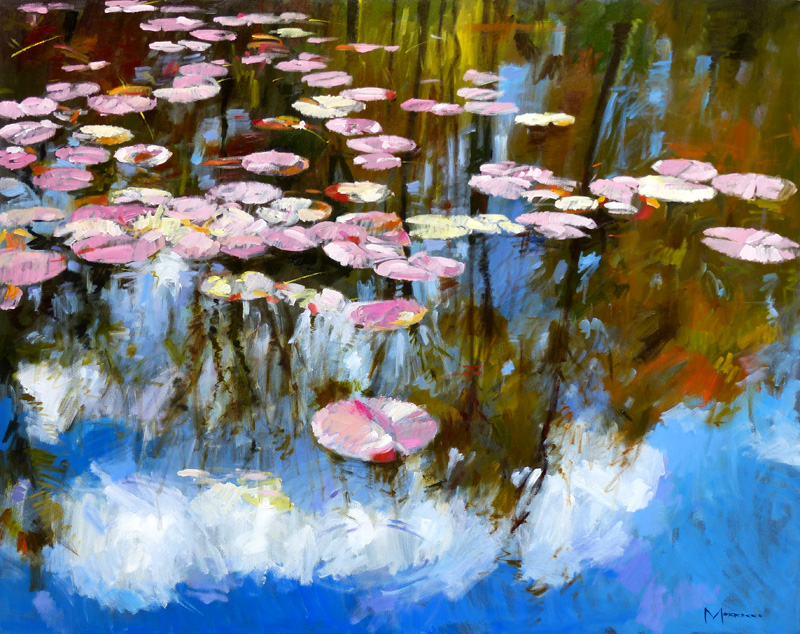 main – waterlilies and reflection 40 x 50