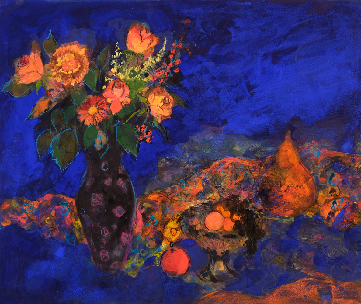 Midnight Still Life with Fruit and Flowers- ann oram rsw – main