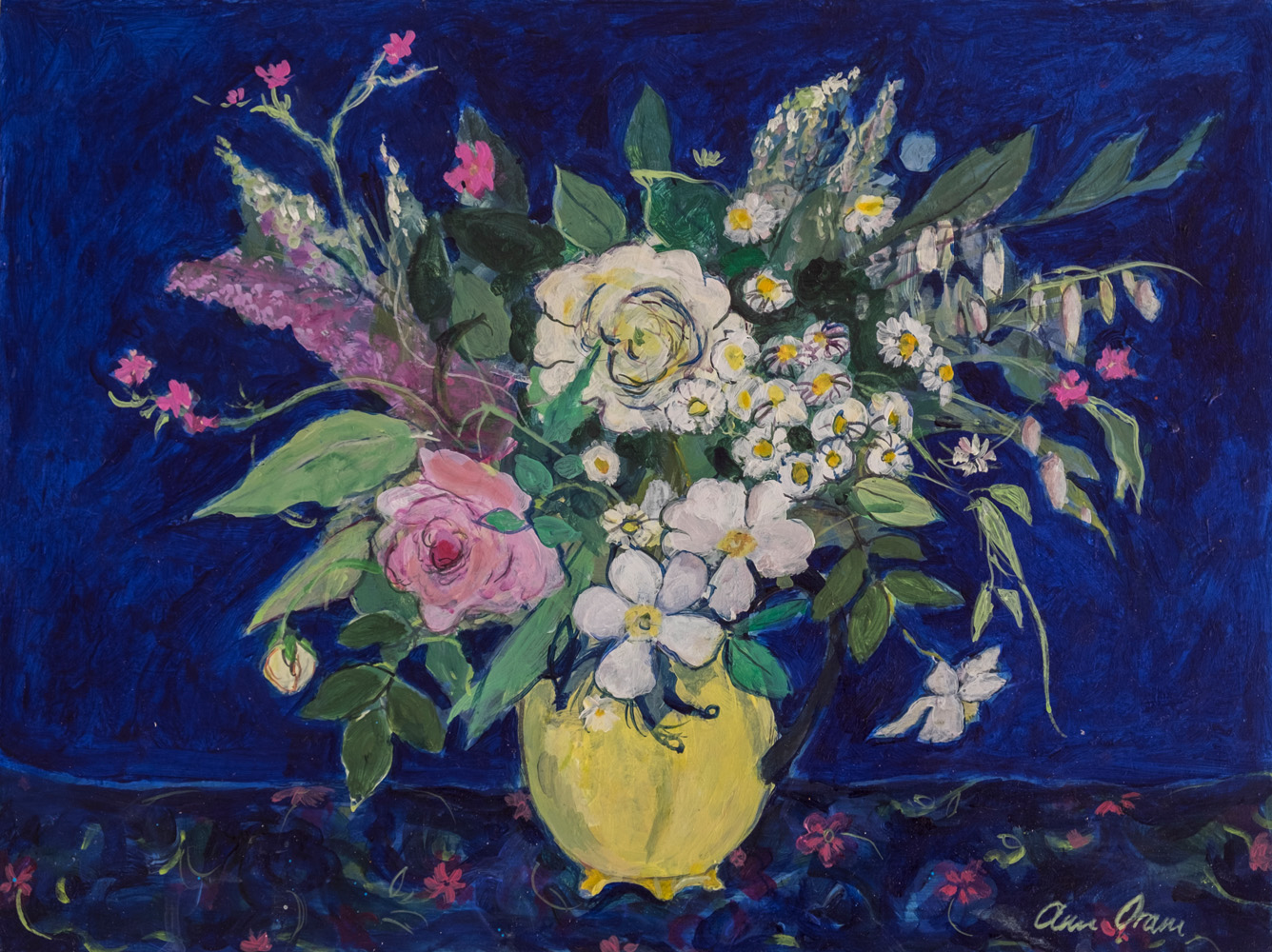 White and Pink Roses in a Yellow Jug- ann oram rsw – main