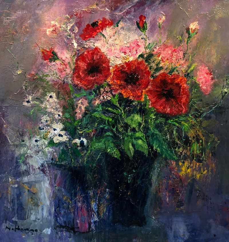 Poppies and Carnations in Blue Vase – Nael Hanna – main