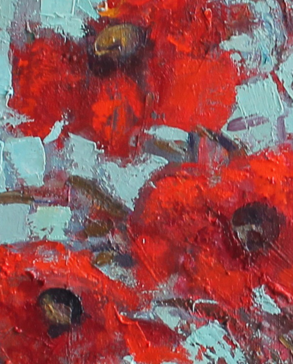 SUMMER POPPIES 24 X 30 INCH PIGMENT OIL CANVAS- jackie philip – main