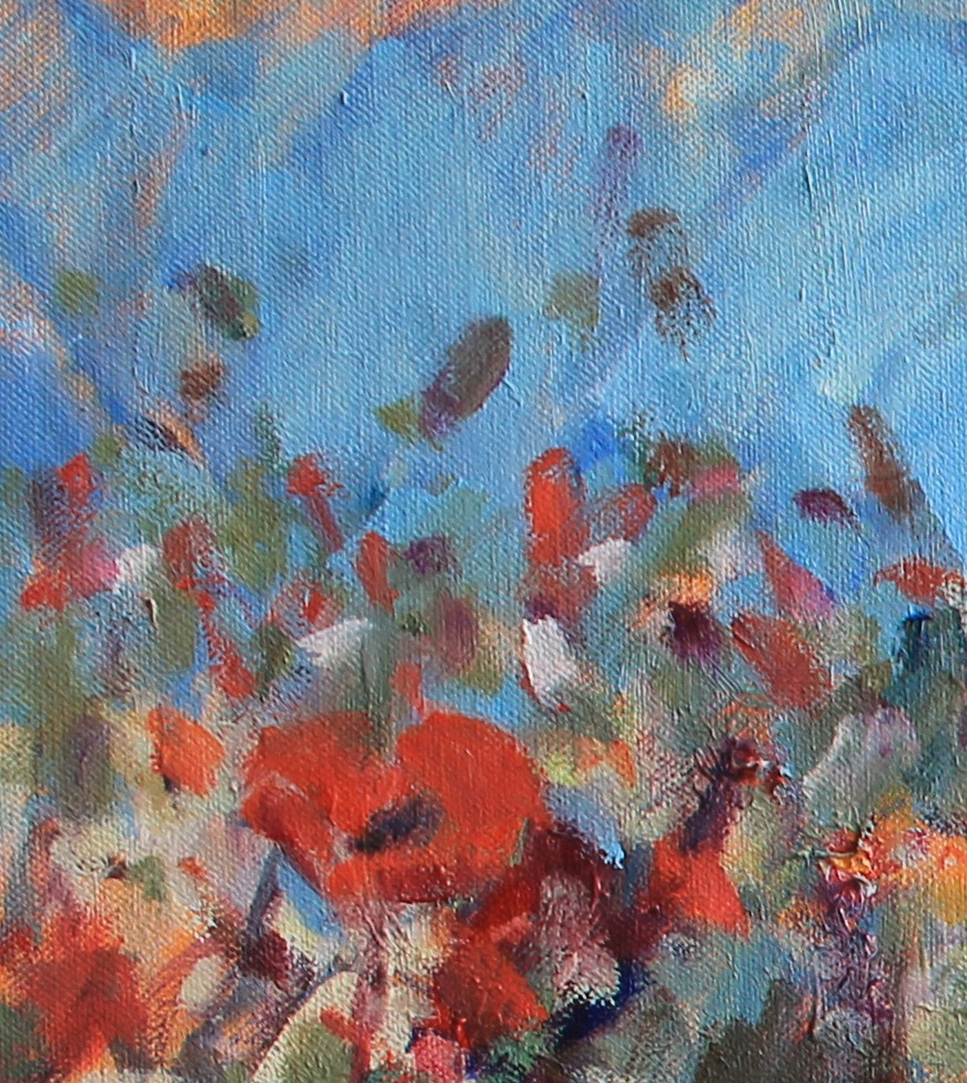 WILDFLOWERS BY THE SHORE, EAST NEUK 24 X 30 INCH PIGMENT OIL CANVAS- jackie philip – main