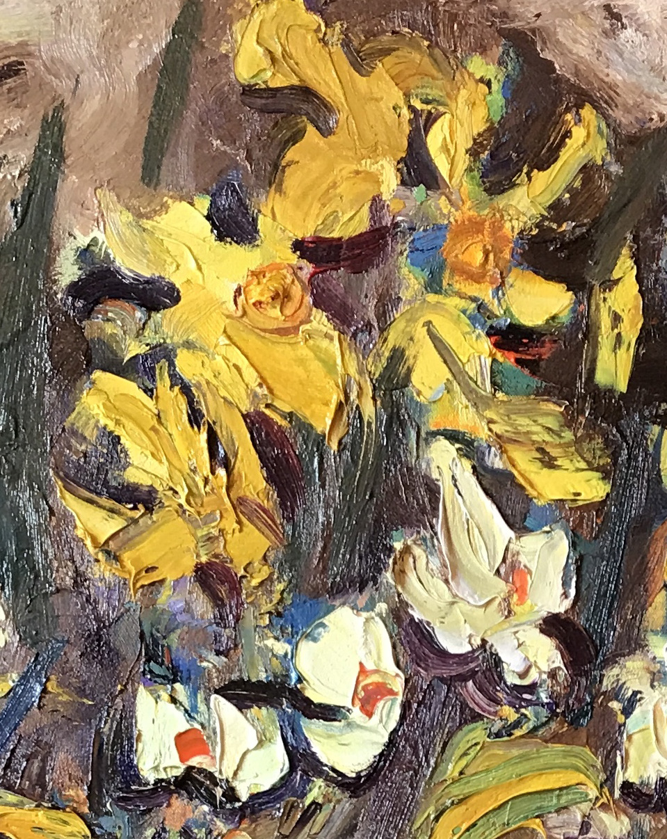 spring daffodils in artists garden by David Mackie Cook – main
