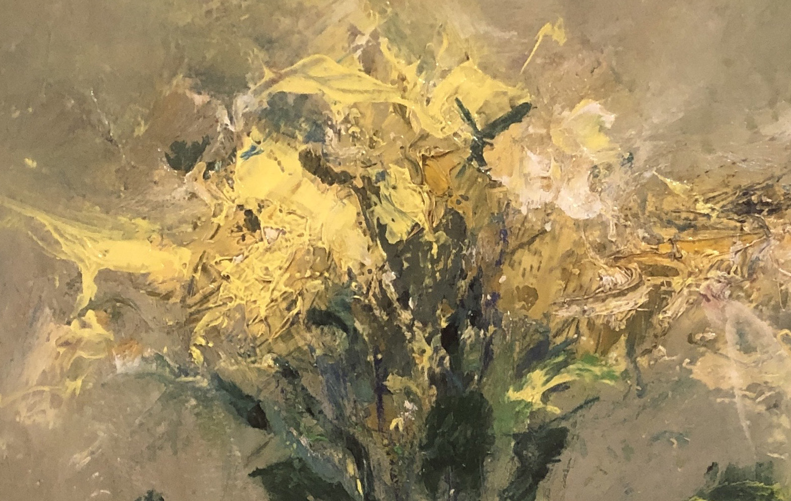 yellow flowers in ink pot vase – Nael Hanna – main